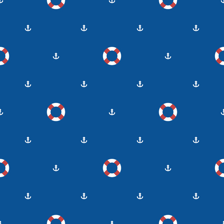 mariner: Seamless sea pattern with lifebuoy and anchors on blue background. Nautical pattern. Baby pattern