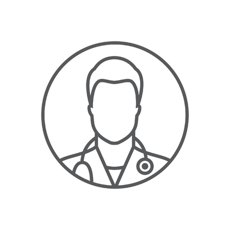 Doctor line icon avatar. Flat style design