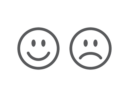 Set of smile emoticons. Line icons emoticons. Happy and unhappy smileys. Vector illustration
