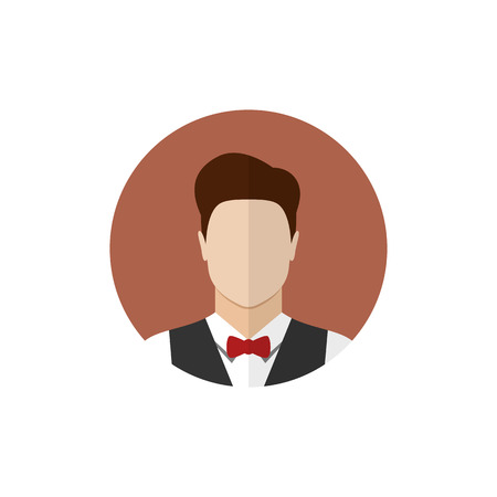 Waiter icon isolated on a white background. Butler icon. Flat style vector illustration Illustration