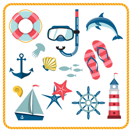 snorkelling: Vector set of nautical and marine icons isolated on a white background. Different sea objects. Flat style illustration