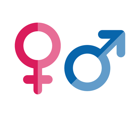 Male and female icons. Gender symbols. Vector flat style illustration