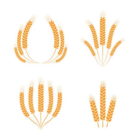 bran: Wreaths of wheat ears or rice. Vector wheat ears set. Vector design element. Set of vector wreaths