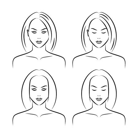 black woman face: Set of beauty women faces isolated on a white background. Drawing female face Illustration
