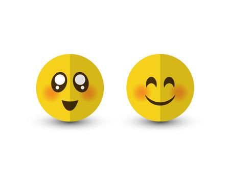 Set of emotions. Eyes smiley icon isolated on a white background Illustration