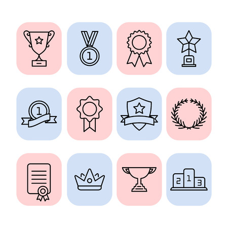 commemorate: Set of trophy and awards icons. Awards icons Illustration