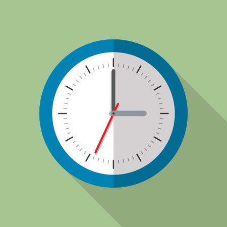 analog dial: Circle office analog wall clock. Wall clock icon. Flat style vector illustration Illustration
