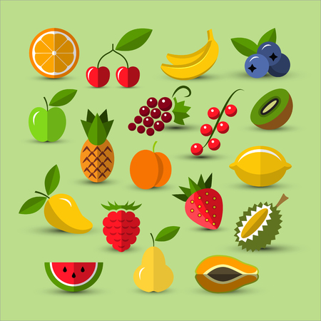 tropical fruit: Flat icons collection. Set of different fruits and berries icons. Berry icon. Fruits icons. Flat style icons. Illustration