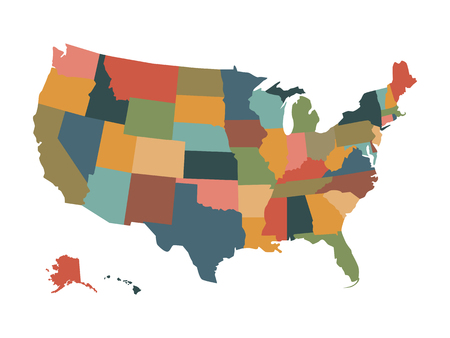 plat: Colorful political USA map isolated on a white background.