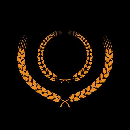 bran: Wreath of wheat ears on black background. Illustration