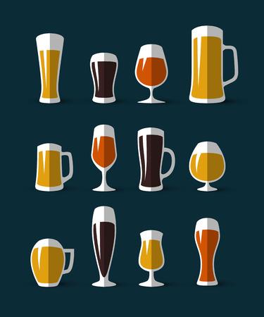vasos de cerveza: Conjunto de vasos de cerveza y los iconos tazas de cerveza. icono del vidrio de cerveza. ilustración de estilo plano. elementos de diseño para la impresión y web