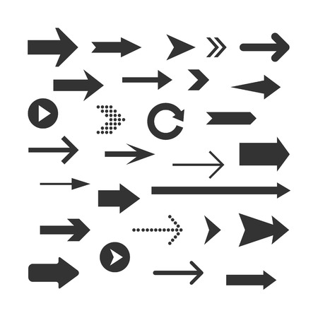 turning point: Arrows set isolated on a white background. Arrow icon. design elements