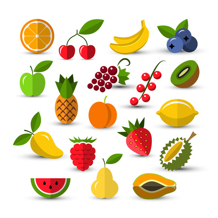 Set of different fruits and berries icons isolated on a white background. Flat style icons
