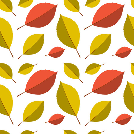 autumn leafs: Seamless autumn leafs pattern. Red and yellow leaves on white background Illustration