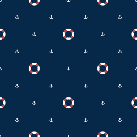 mariner: Seamless sea pattern with lifebuoy and anchors on blue background Illustration