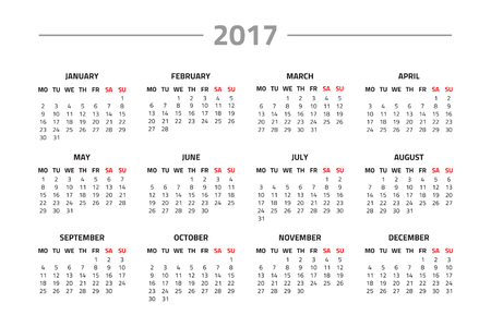 Calendar for 2017 year isolated on a white background. Week starts monday. Vector design template
