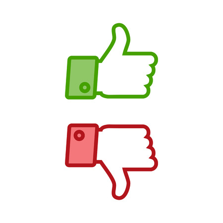 disapprove: Thumb up and thumb down icons set isolated on a white background Stock Photo
