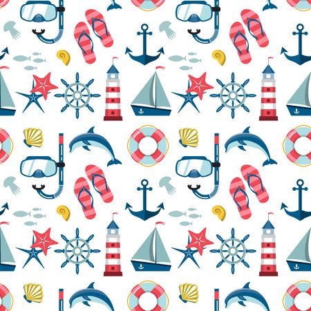 snorkelling: Seamless sea pattern. Marine pattern. Vector illustration Illustration