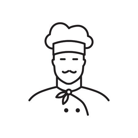 professional chef: Professional chef line icon. Flat design illustration