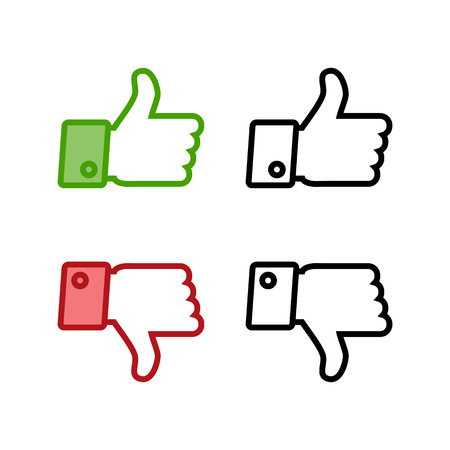 Thumb up and thumb down icons set isolated on a white background Illustration