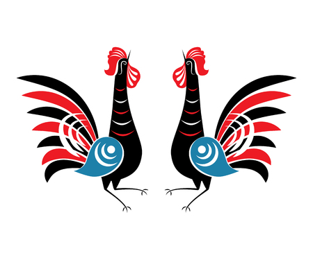 Illustration of Rooster. Animal symbol of Chinese New year 2017. Hand drawn folk cock