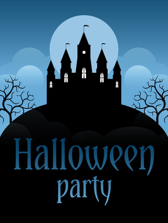 moonscape: Halloween party flyer template. Castle on the moonscape background Illustration