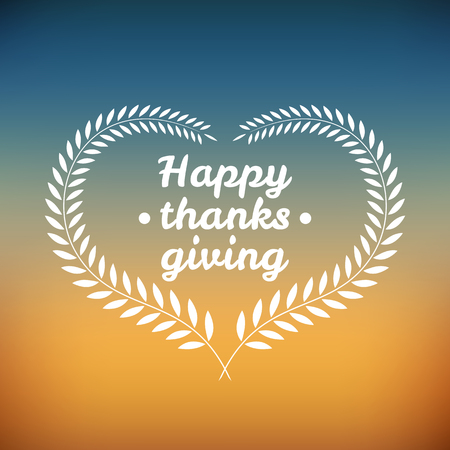 Happy thanksgiving day icon, sign and logotype on blurred background Ilustração