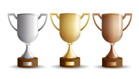 Vector set of trophy cups. Gold, silver and bronze winners cup isolated on a white background Illustration