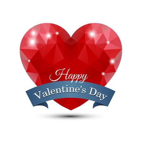 Polygonal red heart