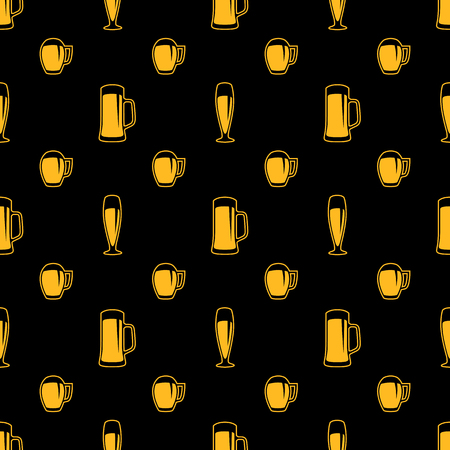 Seamless beer glasses pattern Illustration
