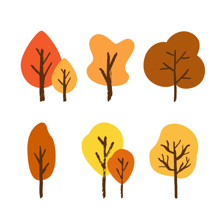 Vector hand drawn tree set isolated on a white background. Various of autumn trees painted with a brush in cartoons style