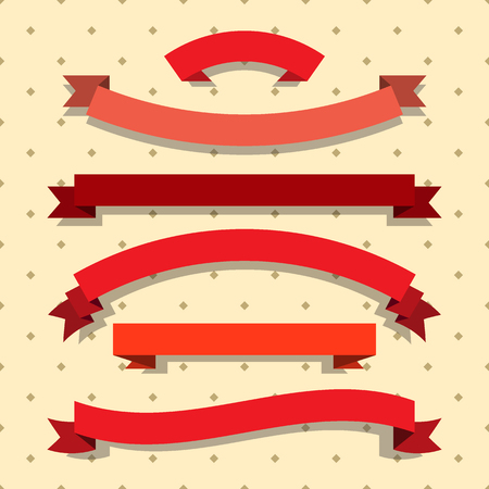 Set of red ribbons. Flat style vector illustration