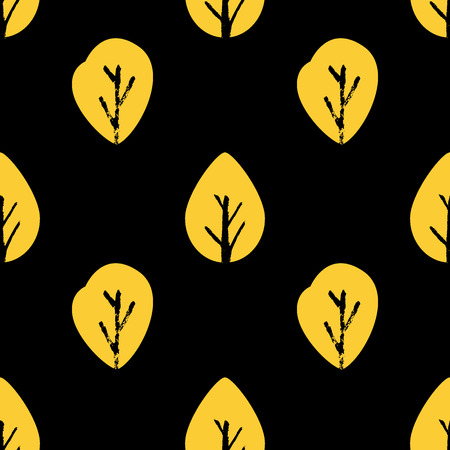 Vector seamless foliage pattern. Golden leaf on black background