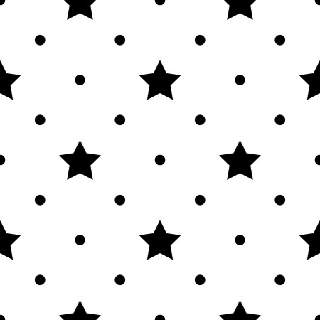 Seamless monochrome pattern with stars. Vector abstract illustration