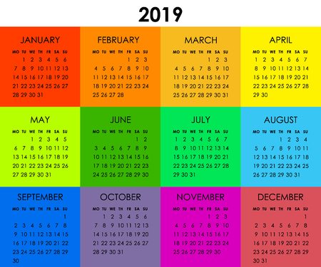 Colorful calendar for 2019 year. Week starts monday. Vector flat style design template