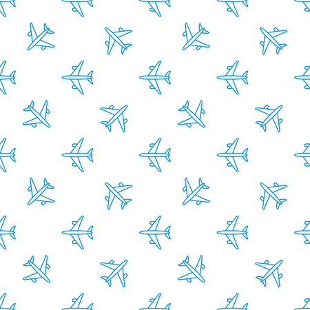Seamless aircraft pattern. Flying blue line plane on white background. Airplane icon. Vector illustration
