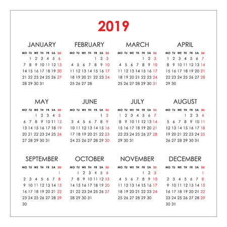 Calendar for 2019 year isolated on a white background. Week starts monday. Vector design template