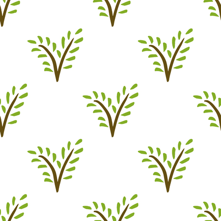Vector painted seamless plant pattern. Hand-drawn branch with green leaves on a white background 矢量图像