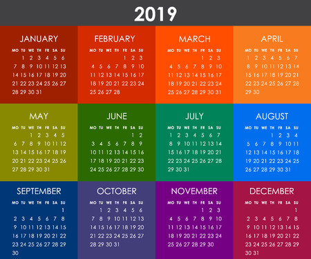 Colorful square calendar for 2019 year. Week starts monday. Vector flat style design template