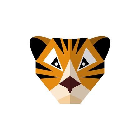 Flat style icon tiger on a white background  イラスト・ベクター素材