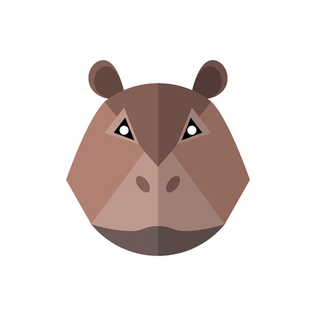 Flat style hippo icon on a white background  イラスト・ベクター素材