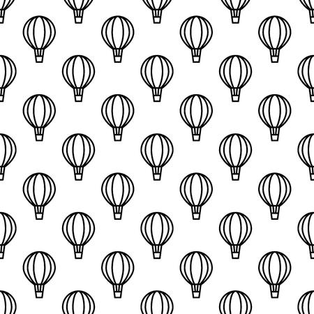 Seamless air balloon pattern. Line icon aerostat monochrome background. Vector illustration