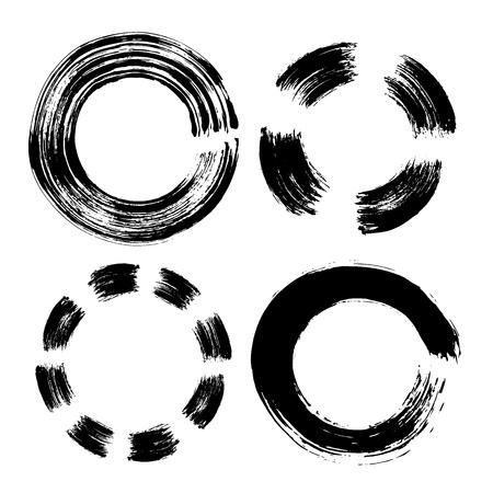 Set of hand drawn circle. Black doodles scribble ring