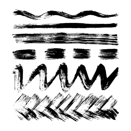 Vector hand drawn set with stripes, lines, waves