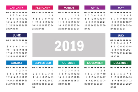 Horizontal calendar for 2019 year with colorful months isolated on a white background. Week starts monday. Vector design template