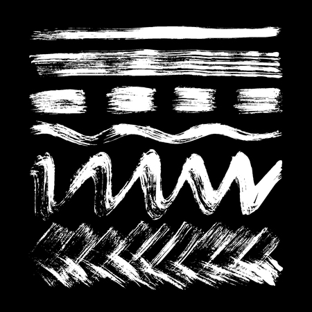 Stripes, lines, waves drawn in white chalk on a black background  イラスト・ベクター素材