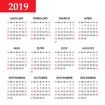 Calendar 2019 year on a white background. Week starts sunday