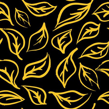 Seamless foliage pattern. Gold leaf background Ilustração