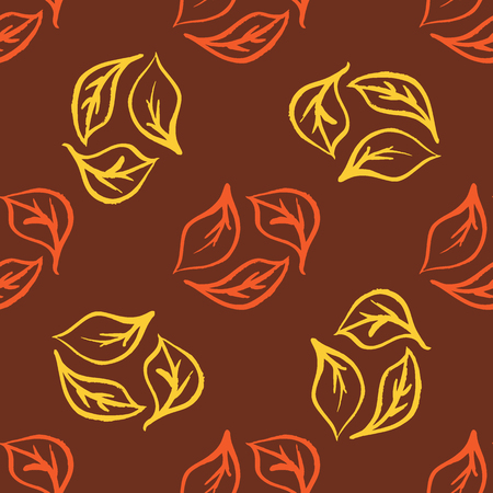 Seamless foliage pattern. Gold leaf background Illustration