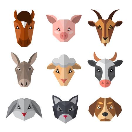 Conjunto de animales de granja en estilo low poly. Colección de iconos de animales